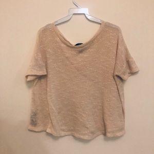 Forever 21 Ivory Short Sleeve Sweater